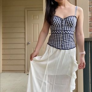 Hollister blue white gingham corset top XS